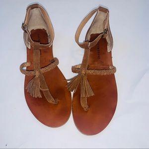 Lucky brand brown tassel sandals